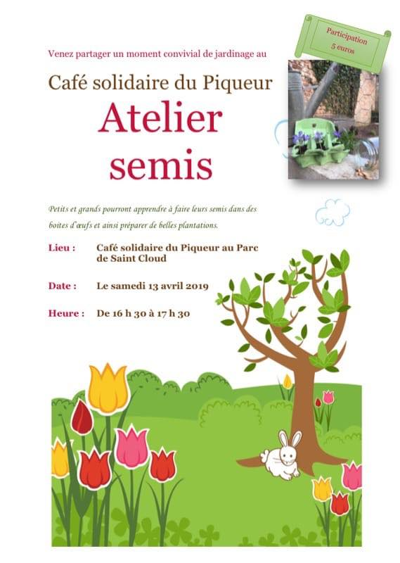 Atelier semis au jardin du Piqueur samedi 13 avril 2019